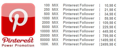 Echte Pinterest Follower kaufen 100-10M